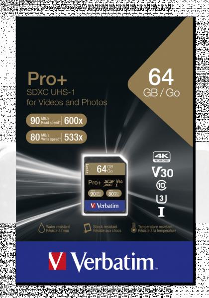 Verbatim SDXC-Card 64GB PRO+